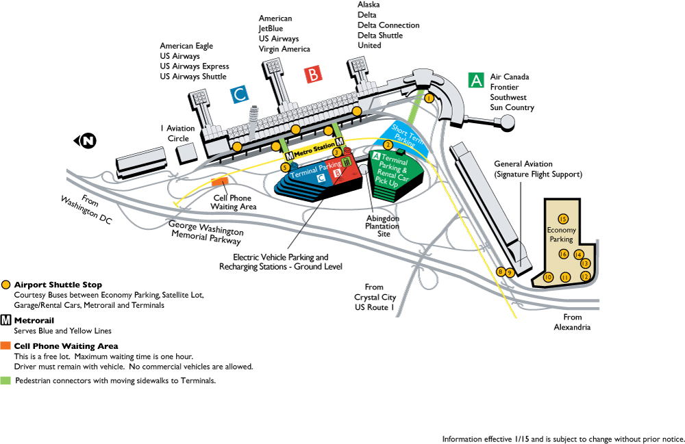 Directions to Ronald Reagan Washington National Airport (DCA ...